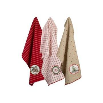 Design Imports Assorted Noel Embellished Dishtowel Set