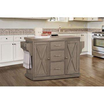 Hillsdale Furniture Brigham Wood Kitchen Island with Steel Top, Gray