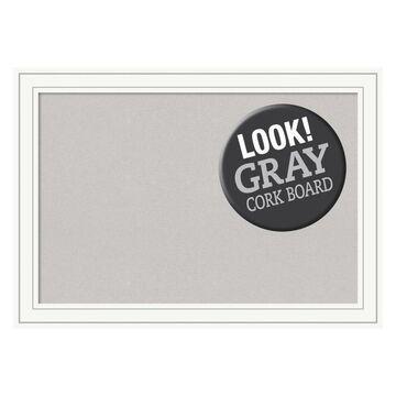 Amanti Art Framed Grey Cork Board Extra Large, Craftsman White Wood