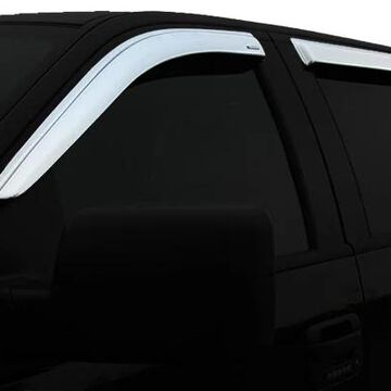 2018 Nissan Titan XD Stampede TAPE-ONZ Chrome Side Window Deflectors