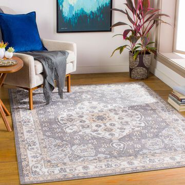 """Art of Knot Tierno Gray 5'3"""" x 7' Traditional Oriental Area Rug"""
