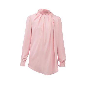 Alexander Mcqueen - Scarf-neck Silk-crepe Blouse - Womens - Light Pink