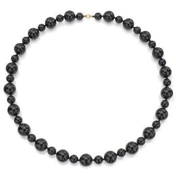 DaVonna 14k Yellow Gold Round Black Onyx 28-inch Necklace (12 mm, 18 mm) (Black - 28 Inch - Onyx - Yellow)