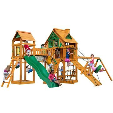 Gorilla Playsets Pioneer Peak Treehouse Wooden Swing Set with Fort Add-On
