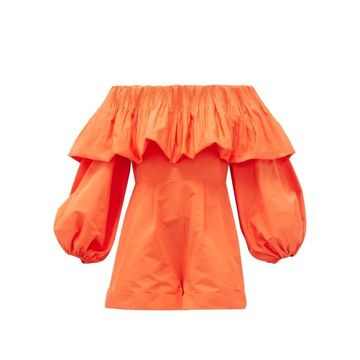 Valentino - Off-the-shoulder Balloon-sleeve Faille Playsuit - Womens - Orange
