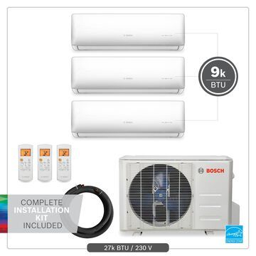 Bosch 27000-BTU 230-Volt 23 SEER 1350-sq Ductless Mini Split Air Conditioner and Heater with Installation Kit   8733954441