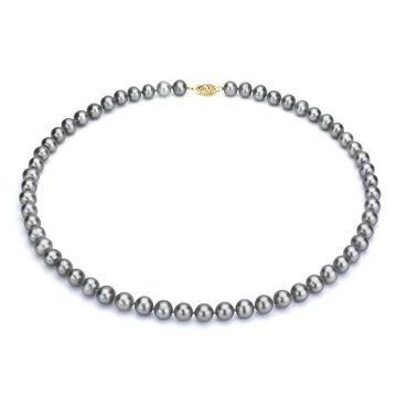 DaVonna 14k Gold 7-8mm Grey Freshwater Cultured Pearl Strand Necklace