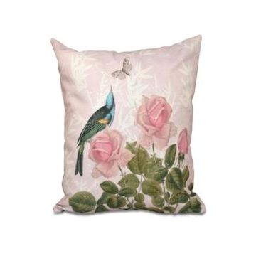 Asian Rose 16 Inch Pink Decorative Floral Throw Pillow