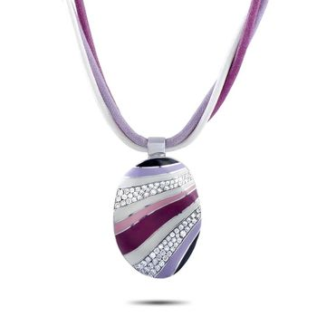 Roberto Coin White Gold Diamond Pave and Lavender, Pink, Pink Deep and White Enamel Oval Pendant 3-Cord Necklace