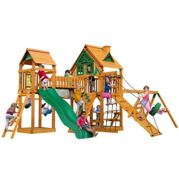 Gorilla Playsets Pioneer Peak Treehouse Wooden Swing Set with Tire Swing