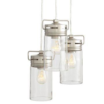 allen + roth Vallymede Brushed Nickel Multi-Light Transitional Clear Glass Jar Pendant Light