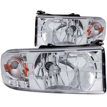 ANZO 1994-2001 Dodge Ram Crystal Headlights Chrome w/ LED