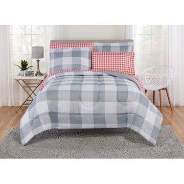 Mainstays Large Gingham Bed in a Bag Bedding Set