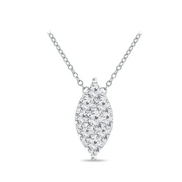 14k Gold Marquise Shaped 1/8ct TDW Pave Diamond Necklace by Auriya (Yellow)