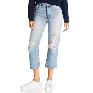 Mother The Huffy Flood High-Rise Straight-Leg Jeans in Mercy