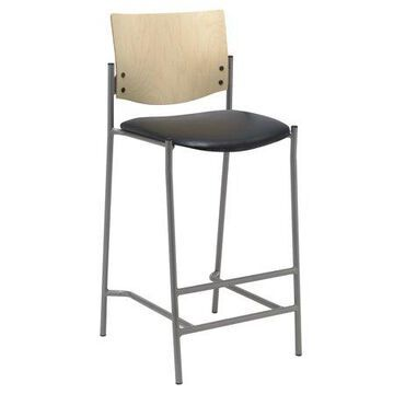 KFI Evolve Series-Barstool with Silver Frame and Wood Back