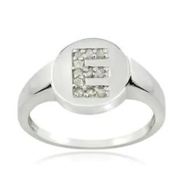 DB Designs Sterling Silver 1/10ct TDW Diamond E Initial Ring (9 - Sterling Silver - White)