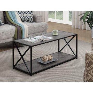 Convenience Concepts Tucson Coffee Table with Shelf, Weathered Grey