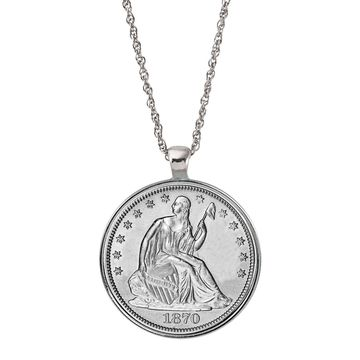 American Coin Treasures Silver Seated Liberty Half Dollar Coin Pendant