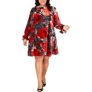 Taylor Womens Plus Velvet Applique Shift Dress