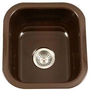 Houzer PCB-1750 ES Porcela Series Porcelain Enamel Steel Undermount Bar/Prep Sink, Espresso