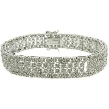 Finesque Silverplated 2ct TDW Diamond Square Link Bracelet