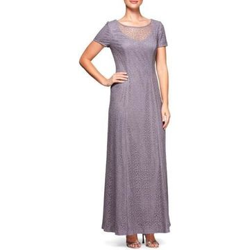 Alex Evenings Womens Lace Illusion Evening Dress