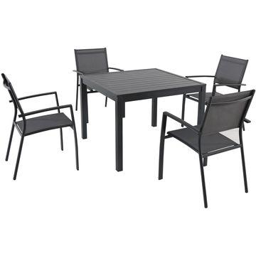 Cambridge Nova Grey Stackable Outdoor 5-Piece Dining Set