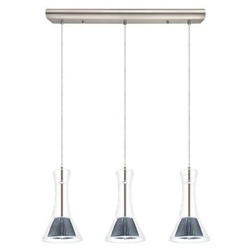 3x4.4W LED Multi-Light Pendant w/ Matte Nickel Finish & Clear Glass by Eglo 9379