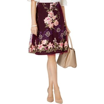 ECI Womens Embroidered Floral A-Line Skirt