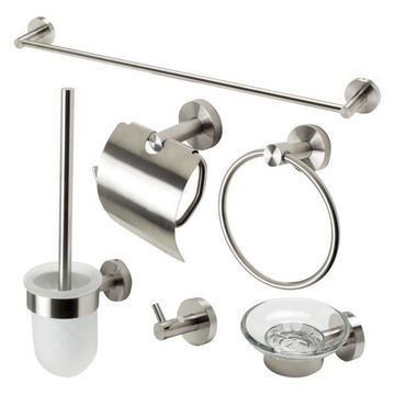 Alfi Brand 6 Piece Matching Bathroom Accessory Set, Brushed Nickel