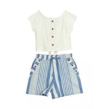 Rare Editions Girls' Girls 7-16 Rib Knit Top And Striped Shorts Set - -