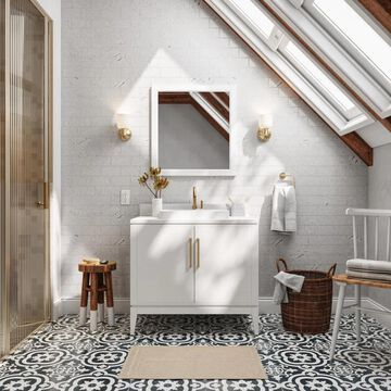 allen + roth Greer 36-in White Semi-recessed Single Sink Bathroom Vanity with White Engineered Stone Top   1483VA-36-201