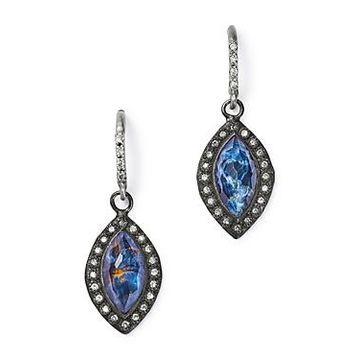 Armenta Sterling Silver New World Champagne Diamond, Blue Pietersite & White Quartz Doublet Drop Earrings