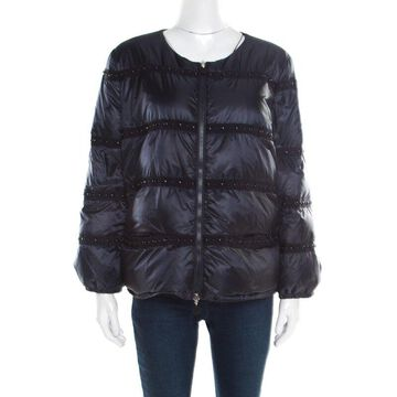 Moncler Navy Blue Bead Embellished Quilted Down Jacket S