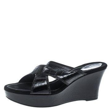 Rene Caovilla Black Leather Crystal Embellished Wedge Slides Size 42
