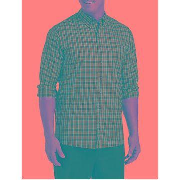 Big & Tall Harbor Bay Easy-Care Medium Plaid Sport Shirt - Black