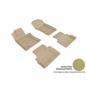 3D MAXpider 2017-2017 Infiniti Q60 Front & Second Row Set All Weather Floor Mats in Tan with Carbon Fiber Look