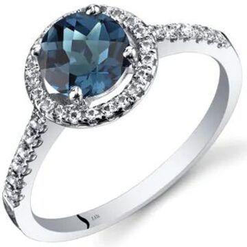 Oravo 14k White Gold Checkerboard Gemstone Halo Ring (1.25 ct London Blue Topaz Size 8)