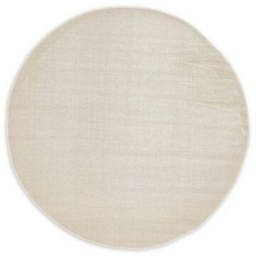 Unique Loom Solid Tribeca 5' Round Powerloomed Area Rug in Beige