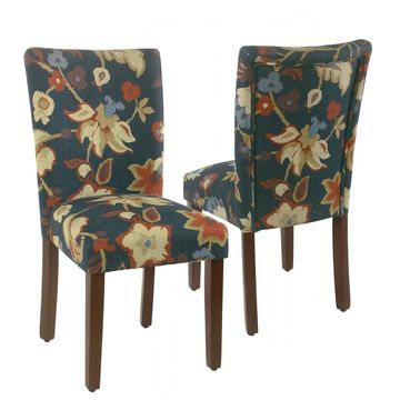 HomePop Parsons Dining Chair -Navy Floral - set of 2 (Multi)