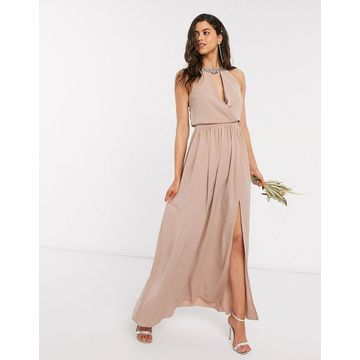 Little Mistress bridesmaid hand-embellished halter maxi dress in mink-Pink