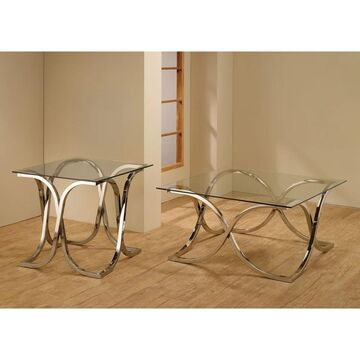 """Coaster Company Square Chrome and Glass End Table - 24"""" x 24"""" x 23.75"""""""