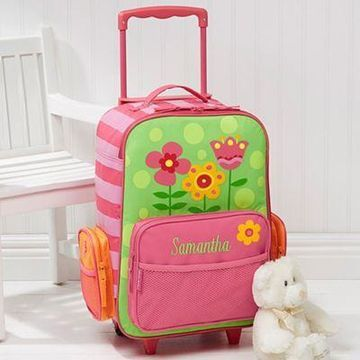 Stephen Joseph Pretty Flowers Embroidered Rolling Luggage