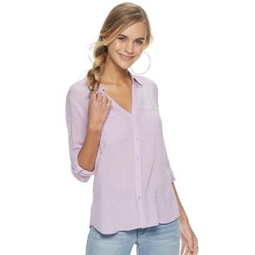 Juniors' Candie's Piped Roll-Tab Blouse
