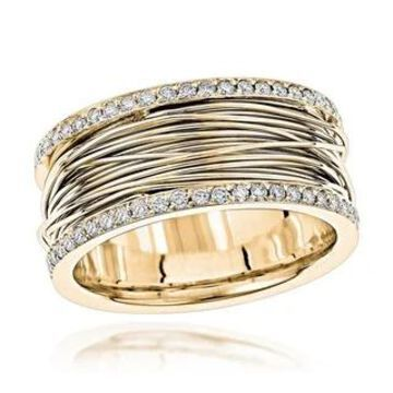 14K Gold Unique G-H/VS1-VS2 Diamond Wedding Ring Gold 1 Carat Band by Luxurman (7 - Yellow)