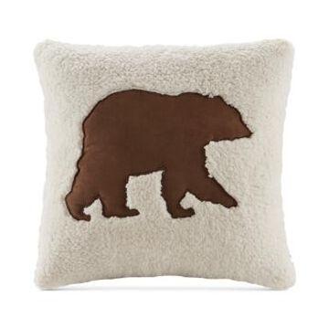 """Woolrich Hadley Plaid 18"""" Square Faux-Suede Applique Berber Decorative Pillow"""