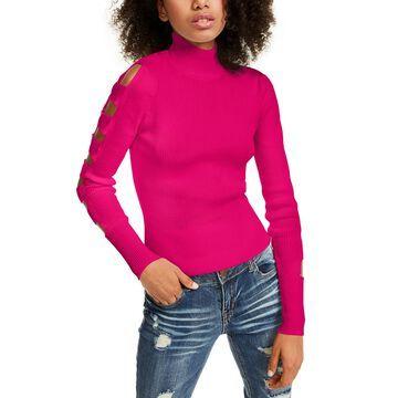 Juniors' Lattice Sleeve Sweater