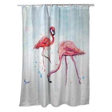 SH636 70 x 72 in. Betsys Flamingos Shower Curtain