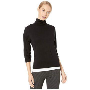 Majestic Filatures Long Sleeve Double Layer Turtleneck Top (Noir) Women's T Shirt